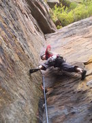 Rock Climbing Photo: Fun sustained stemming in the middle of a spring s...