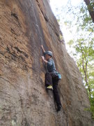 Rock Climbing Photo: Mary following on the thin edges of the super clas...