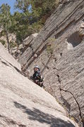 "Rock Climbing Photo: Garrett Gillest cleaning gear on ""Let it Vee&..."