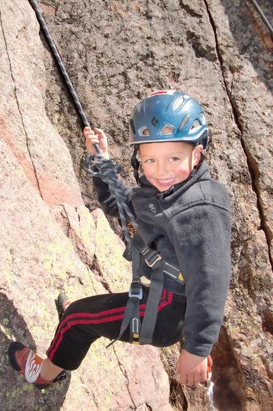 Rock Climbing Photo: Garrett Gillest at Eldo Cadillac Crag age 5
