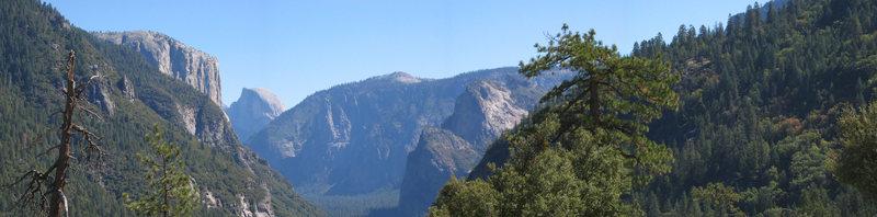 Panoramic of Yosemite Valley, CA.