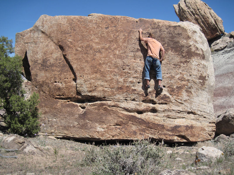 Rock Climbing Photo: Reaching for the crimp near the top of Pocket Full...