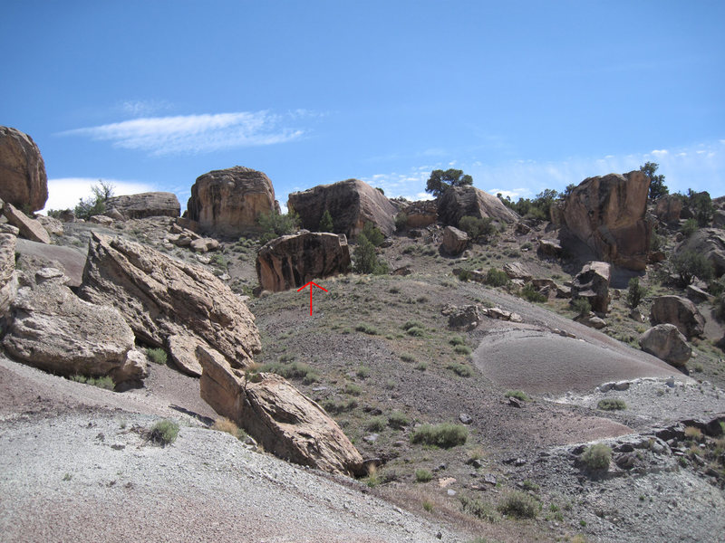 From the mushroom rock you will be able to see New Mexico Boulder (indicated by the red arrow).