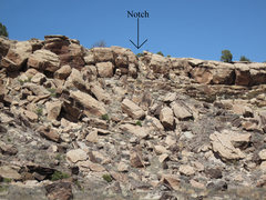 Rock Climbing Photo: The notch that allows access from Ali Alley Trail ...