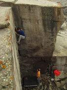 Rock Climbing Photo: Sam at the crux