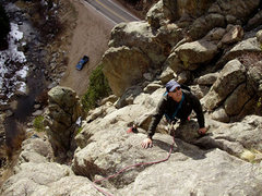 Rock Climbing Photo: Just about to do the wide finish crack.