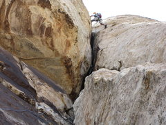 Rock Climbing Photo: Stemming at the top of the big overhang.