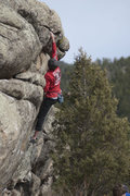 Rock Climbing Photo: James on Chew Chew.  Note:  This highball is a ful...