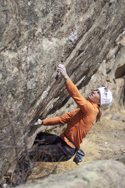 Rock Climbing Photo: Trixie moves out of the starting hold of The Pranc...