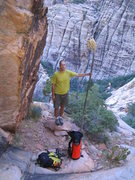 Rock Climbing Photo: King Karsten, descending from the wall after the F...