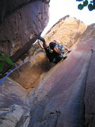 Rock Climbing Photo: Joanne on the FA, below the crux. And yes, all i g...