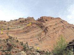 Rock Climbing Photo: A) Comedy of Errors.520'5.9 D).Descent