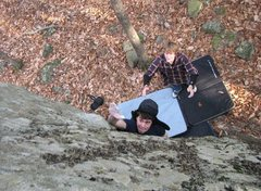 Rock Climbing Photo: Me goin for it on the steep face of the Armadillo