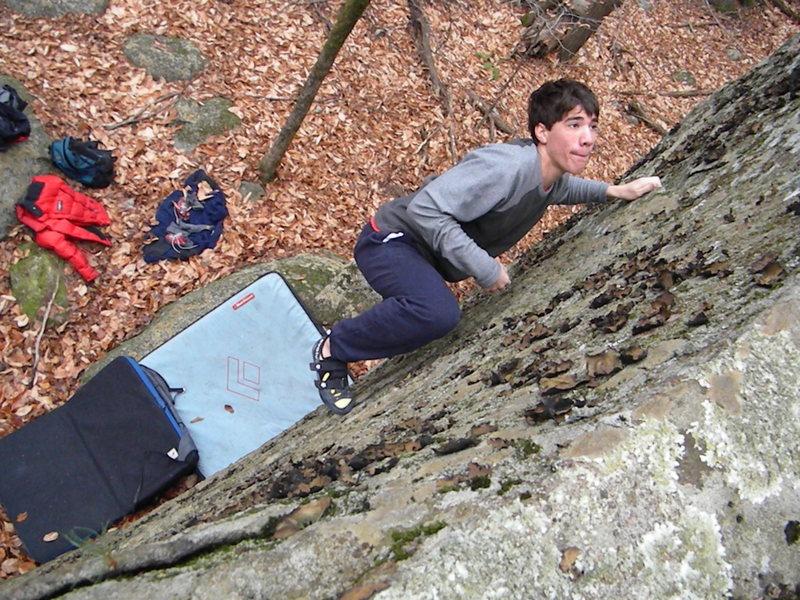 Rock Climbing Photo: Rob working his way up the slab