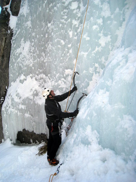 Rock Climbing Photo: Farzad getting ready to head up the variation of G...
