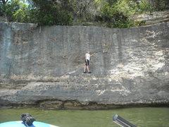 Rock Climbing Photo: Nikki taking a photo op on Diagonal Crack.