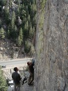 Rock Climbing Photo: Luke Childers looking up at the route that would s...