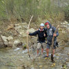 Alex and David Abzug hike out from the Fotress (April 2011).<br> <br> Heavy rain and snow fall throughout the Winter of 2010/11 has meant wading across Sespe Creek to access Potrero John and the Fortress.  It may be a while until you can get across without getting wet.