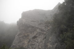 Rock Climbing Photo: Swiss Cheese in the fog.