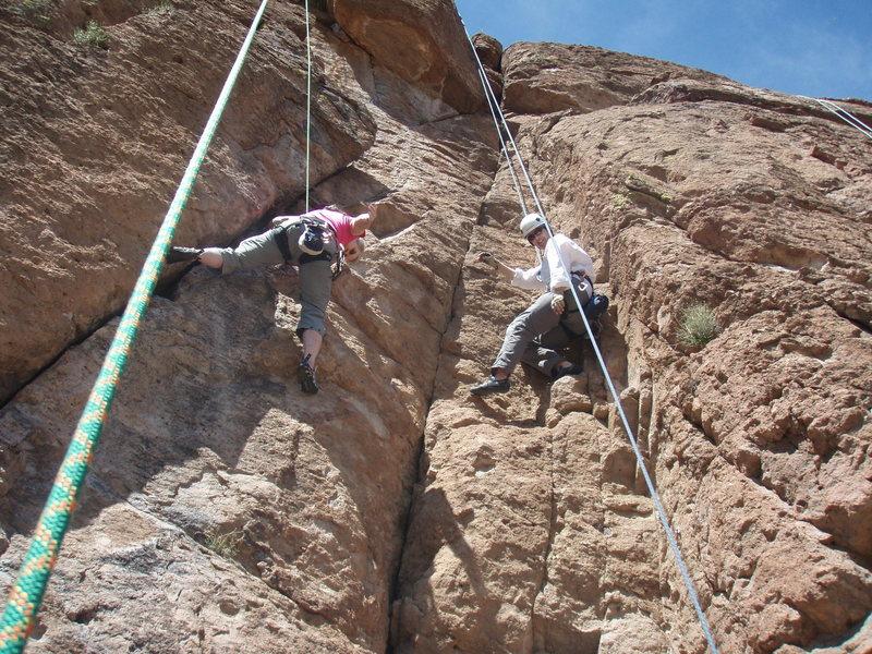 Karen (right) on Projectiles climbing next to Susan (left) on Queen Creek Freak (5.9)