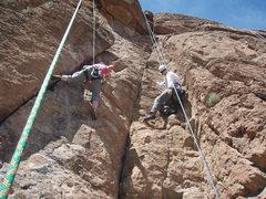 Rock Climbing Photo: Karen (right) on Projectiles climbing next to Susa...