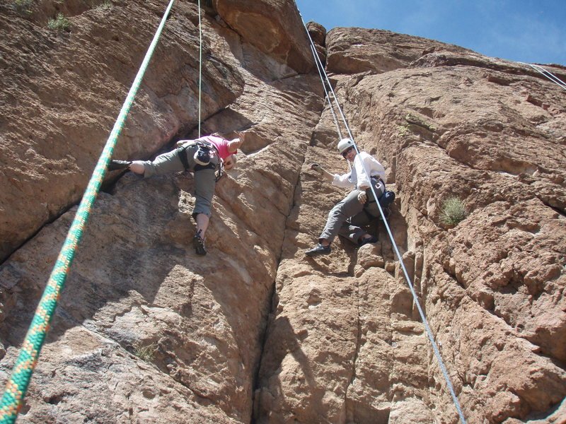 Rock Climbing Photo: Susan (left) climbing 'Queen Creek Freak' with Kar...
