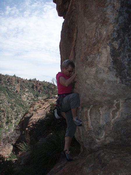 Rock Climbing Photo: Susan on the start