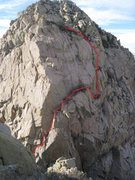 Rock Climbing Photo: Here's another shot of the route, with the basic r...