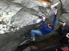 Rock Climbing Photo: sean ferrell on glass bowl crux mono move.  march,...