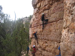 Rock Climbing Photo: Routes according to helmet color: Orange - Inducti...
