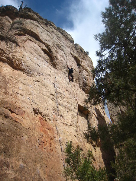 Rock Climbing Photo: Chris M-M saving some juice for the business above...