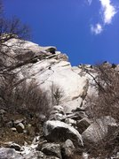 Rock Climbing Photo: Chris Ringel on the upper part of the route.  Pret...