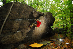 Rock Climbing Photo: V0 on the left side of the Temple Overhang boulder...