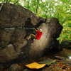 V0 on the left side of the Temple Overhang boulder.
