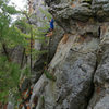 Hand traverse on Steve Tucker's (yet to be named?) route. Nate Erickson, April '11.