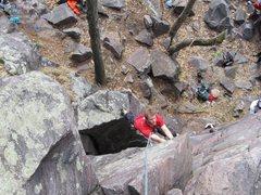 Rock Climbing Photo: Josh steps across