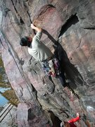 Rock Climbing Photo: 4-24-11. Dispacthing the crux in a strong and orde...
