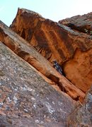 Rock Climbing Photo: Climber leading up Under the Sleeping Giant (5.6) ...