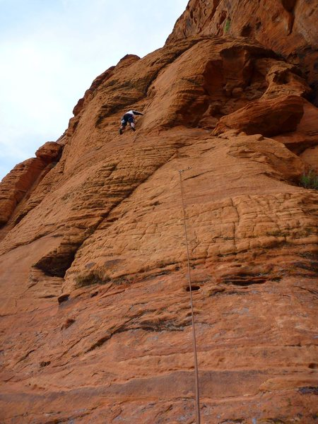 Rock Climbing Photo: Climber just below the crux on Stranger Than Frict...