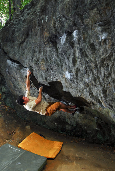 Rock Climbing Photo: Andy on cave overhang at the warm up area