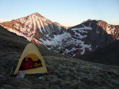 Rock Climbing Photo: Camp below Fluted Peak.