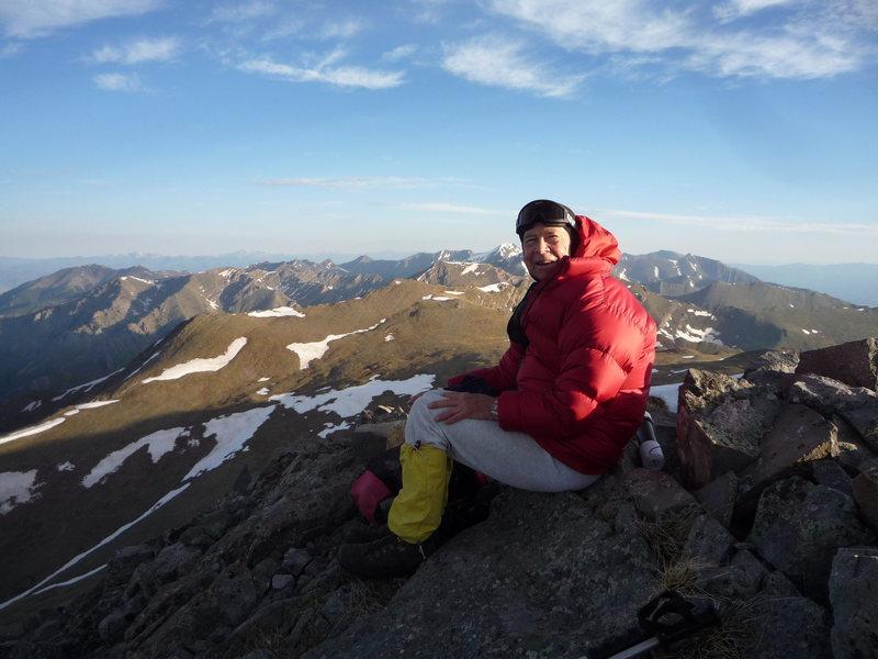 Jack Eggleston on Fluted Peak with ridge to Comanche behind.