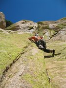 Rock Climbing Photo: Joel Hunt leading the third pitch of Unknown Left ...