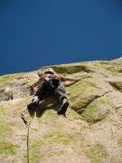 Rock Climbing Photo: Joel Hunt on the last pitch of Unknown Left of Pea...