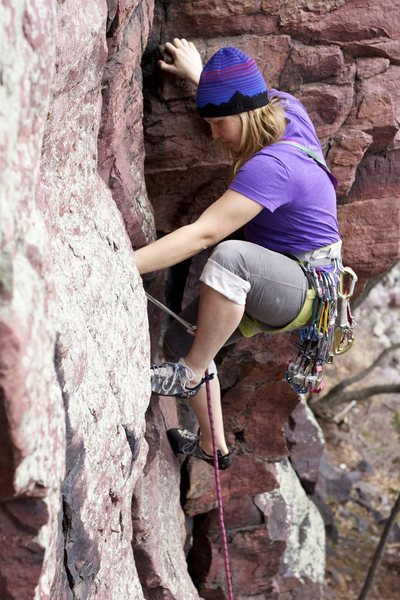 Rock Climbing Photo: Kelly and some classic Devil's Lake high stepping ...