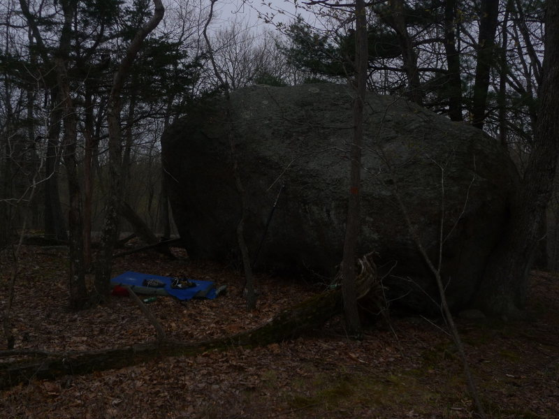 the lonely boulder.  up on the hill before you get to homeless camp. right off of the trail.