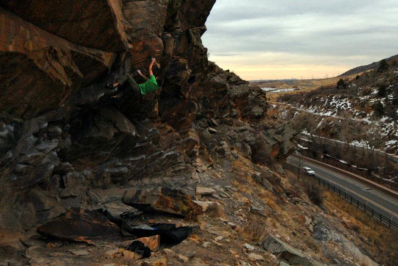 Matt Lloyd on the possible first ropeless ascent. Photo: Daniel Madson.