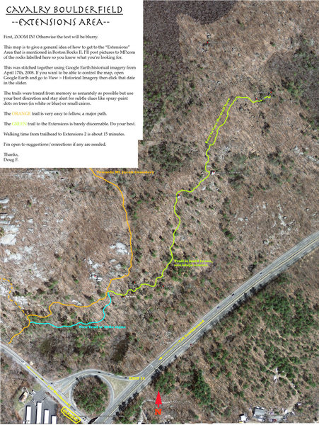 An overview map of the Cavalry Boulder Field and the access trail to the Extensions. <br> <br> Zoom in to see the text, sorry if it's hard to read.