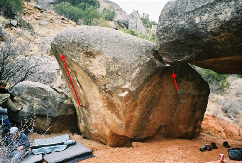 Pic of the smaller Holy Boulder.  Human Pinball is on the right topping out between the two boulders.  Project on the left.