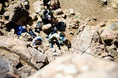 Rock Climbing Photo: Belay area from above